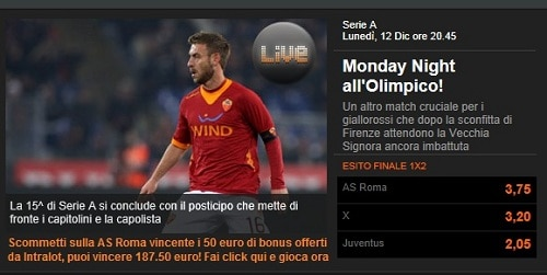 Roma-Juventus, 12 dicembre 2011 20h45: le quote di Intralot