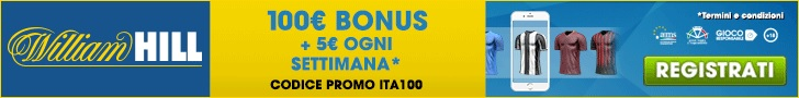 William Hill Scommesse Sportive: codice promo bonus 100 euro